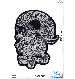 Cafe Racer Skull - Who Wants to Live Forever - 25 cm