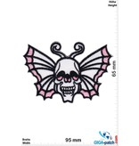 Oldschool Butterfly Skull - white pink