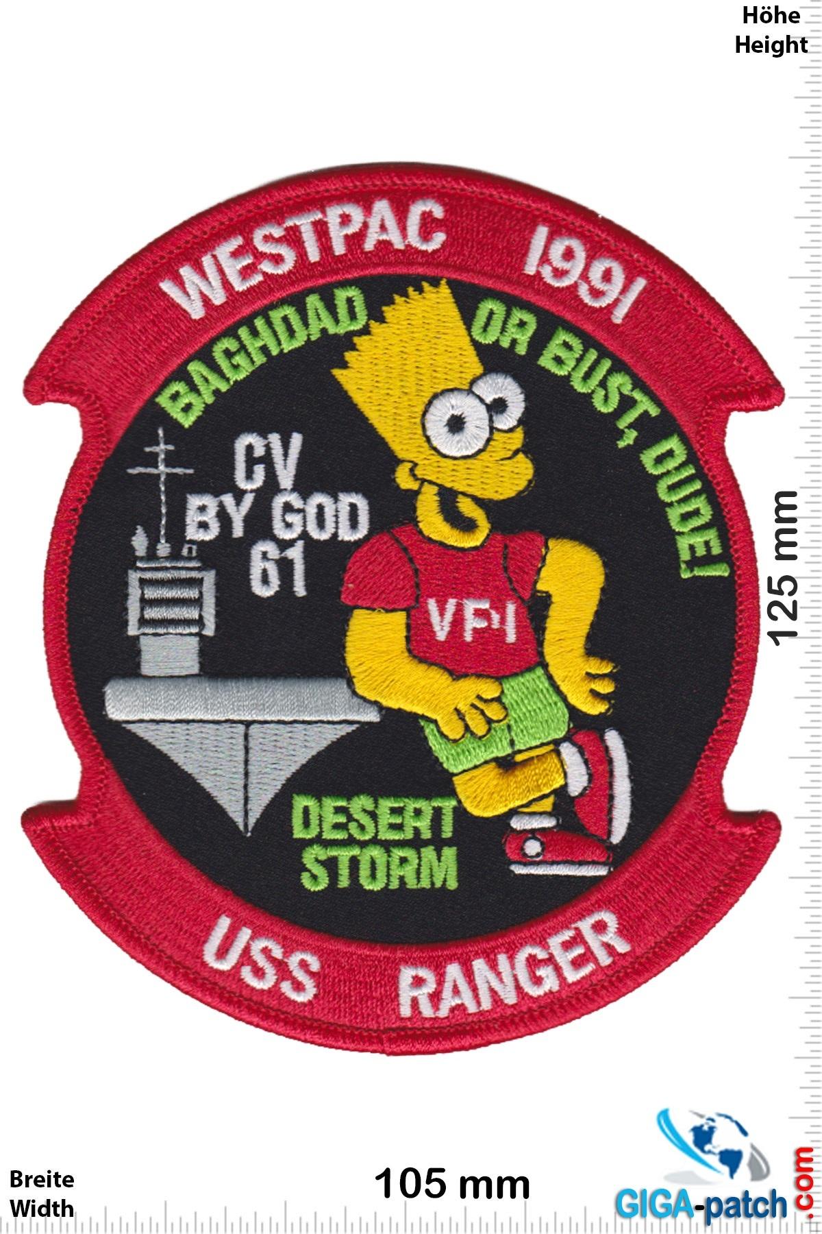 U.S. Navy CV-61 USS RANGER - BART SIMPSON WESTPAC 1991 CRUISE- HQ