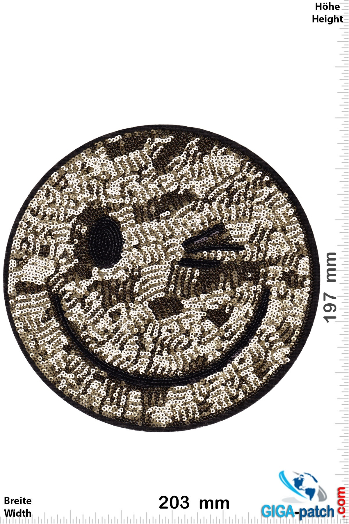 Smiley Smiley - gold sequins - 20 cm