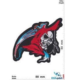Totenkopf Sensenmann - Grim Reaper - red blue