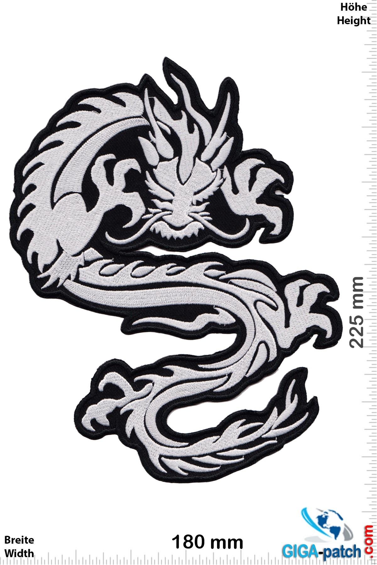 Drachen Dragon - silver  - 22 cm