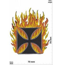 Kreuz Eiserne Kreuz in Flammen - Iron Cross in Flame -  Fun Biker Motorcycle  Kutte -