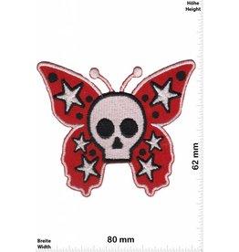 Oldschool Totenkopf  Schmetterling - rot  - Oldschool Biker  - Rockabilly