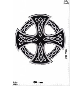 Celtic Celtic Cross - silver black - round