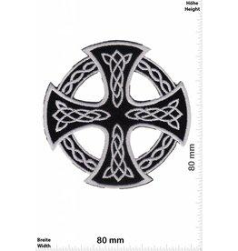 Celtic Kelten Kreuz - silber schwarz - silber schwarz - rund - ausgeschnitten -