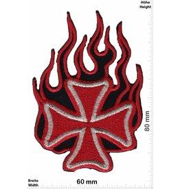 Kreuz Eiserne Kreuz - Flame - rot gold