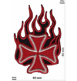 Kreuz Iron Cross- Flame - red gold