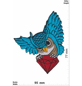 Eule Owl with diamond - blue
