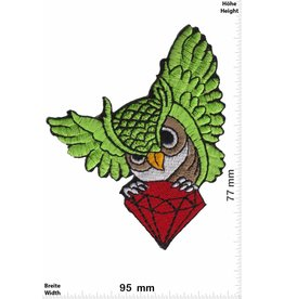 Eule Owl with diamond - green