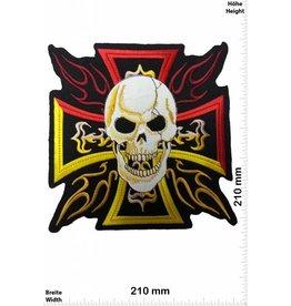 Kreuz Cross  with Skull - Kreuz mit Totenkopf  - Biker - Chopper - 21 cm - BIG