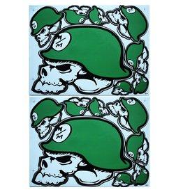 F3 Bögen 2 Aufkleberbögen 2x (F3) Metal Mulisha - Monster Energy- grün