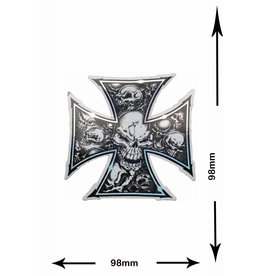 #Mix Kreuz - Totenkopf - Skull - 2 pieces  - metal effect -