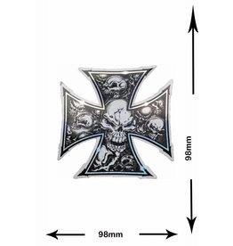 #Mix Kreuz - Totenkopf - Skull - 2 pieces  - metal effect -
