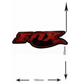Fox FOX  - font with fox tail - 2 pieces  - black- red - glitter effect -