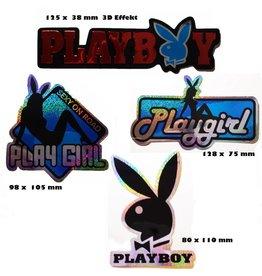 #Mix Playboy - rot  - 4 Stück  - 1x 3D Aufkleber - 3x  Glitzereffekt -