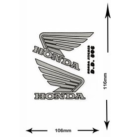 Honda HONDA - 2 sheets with complet 4 Stickers - BIG - silver