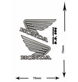 Honda HONDA - 2  Bögen insgesamt 4 Aufkleber - small - silber - silver -