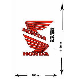 Honda HONDA - 2  Bögen insgesamt 4 Aufkleber - BIG - rot -red -