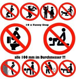 #Mix Funny Verbote - Stop - alle 100 mm - rund - kein trinken - No Sex - Pinkeln verboten - nicht Pupsen Furzen - NO SM - NO Blowjob - Stop Drunk - Betrunken Verboten