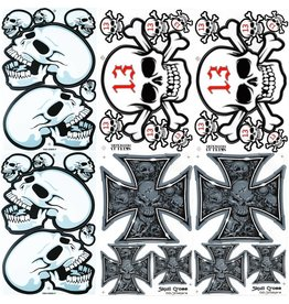F4 Bögen 6 Sticker Sheets (F4)  Totenkopf - Skull  MIX 1 -