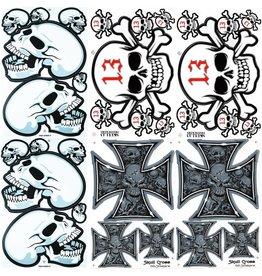 F4 Bögen 6 Sticker Sheets (F4)  Totenkopf - Skull  MIX 1 -