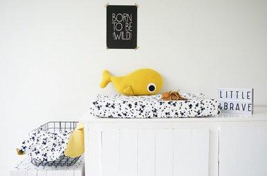 Aankleedkussenhoes Max - b&w splash dots