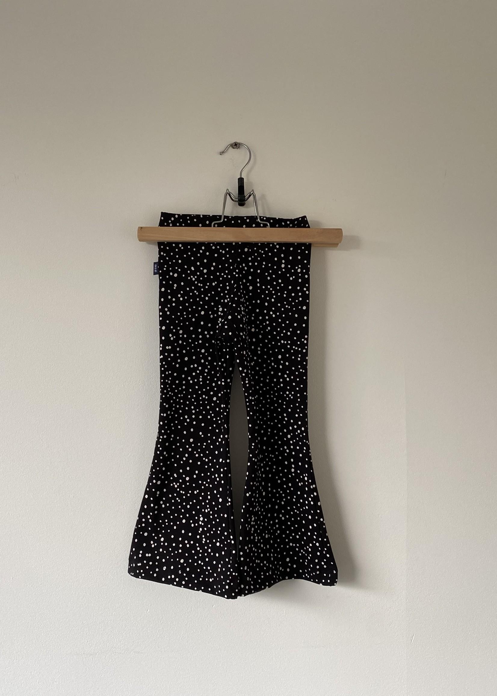 Flared broek Gigi - zwart met witte stipjes