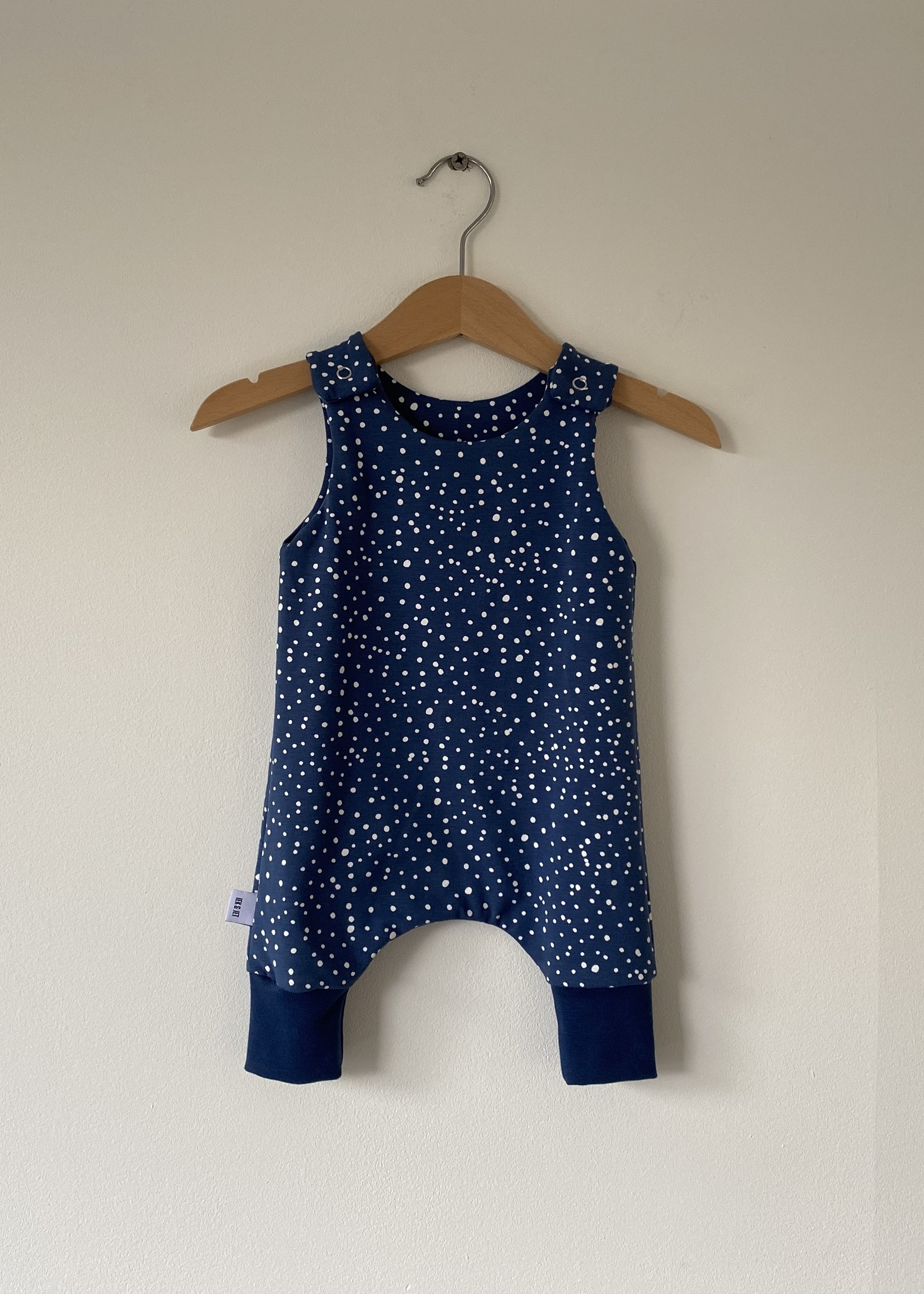 Jumpsuit Bobbi - blauw met witte stippen