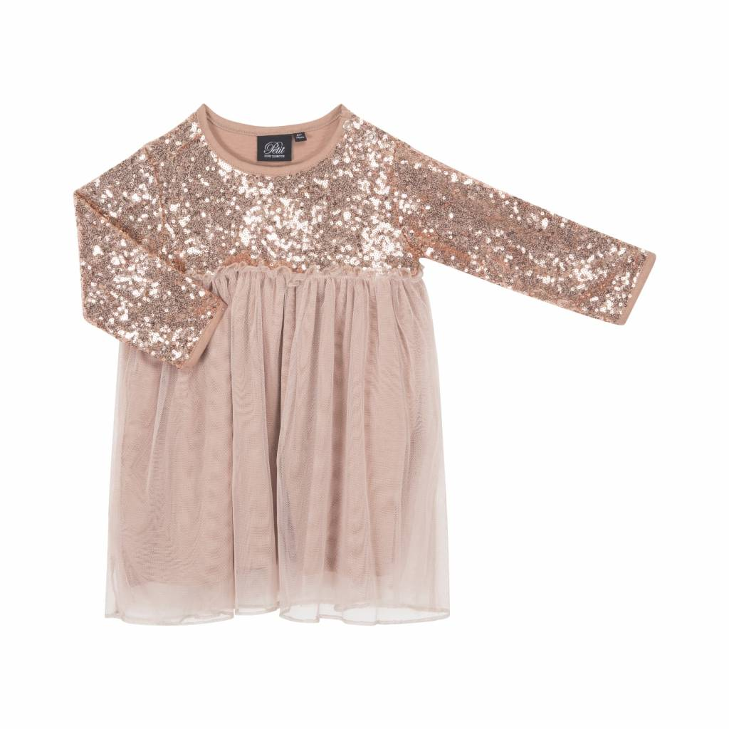 Glitter dress champagne LAATSTE MAAT 68