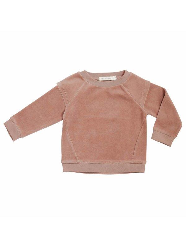Epaulette sweater velvet LAATSTE MAAT 3-6M