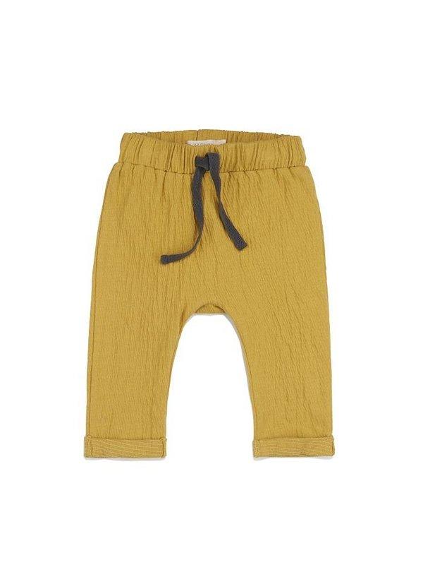 Textured baby pants dusty yellow LAATSTE MAAT 6-12M