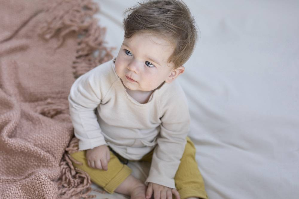 Textured baby pants dusty yellow