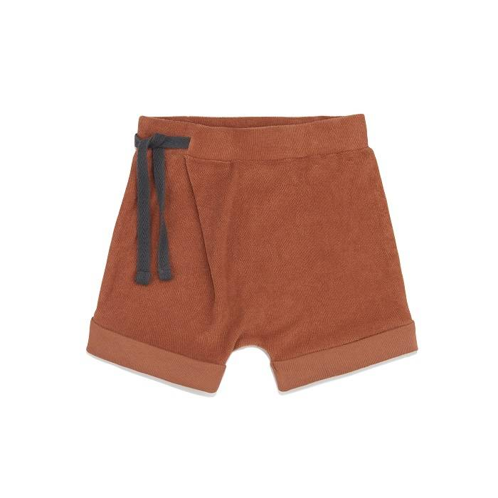Frotté harem shorts burnt clay