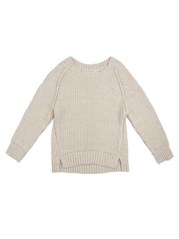 Chunky knit sweater stone melange