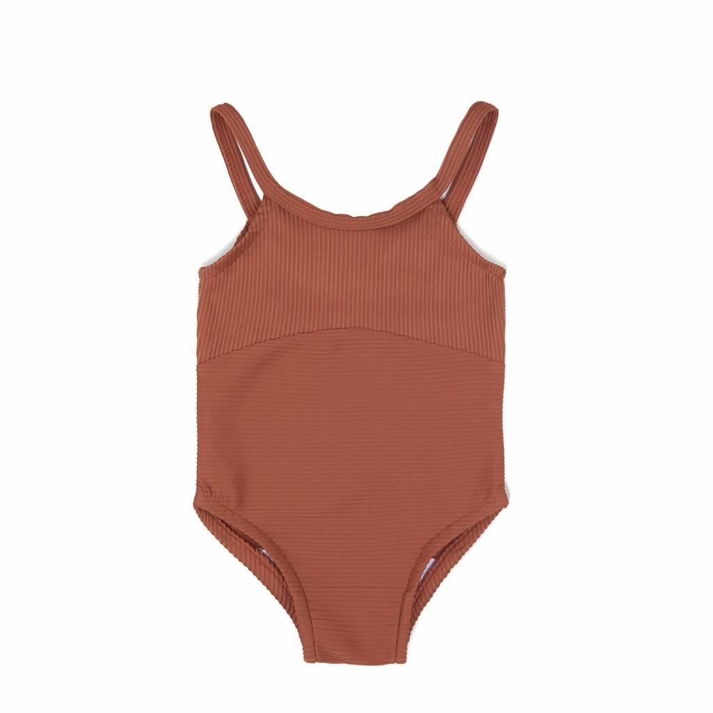 Swim suit burnt clay