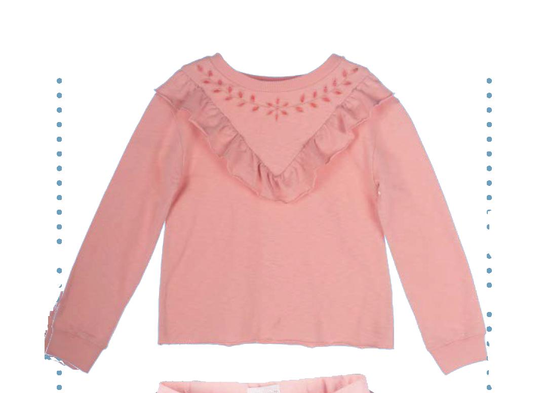 Roze trui met borduursel en ruffles