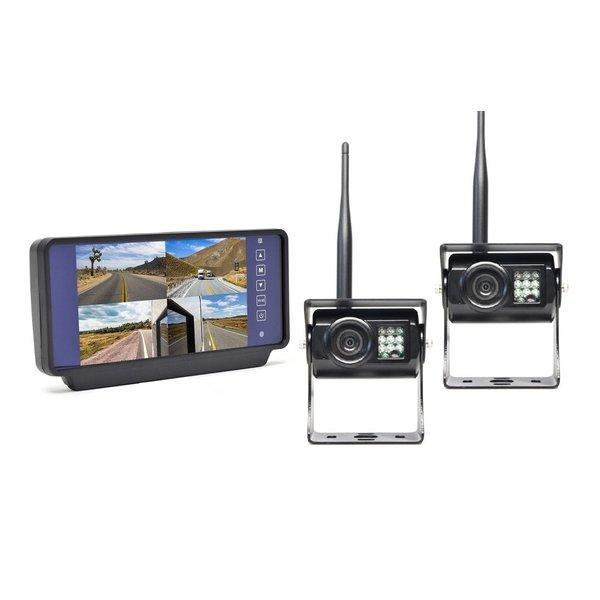 RVS-systemen 7 inch Clip-on Binnenspiegel 2 Draadloze Camera's