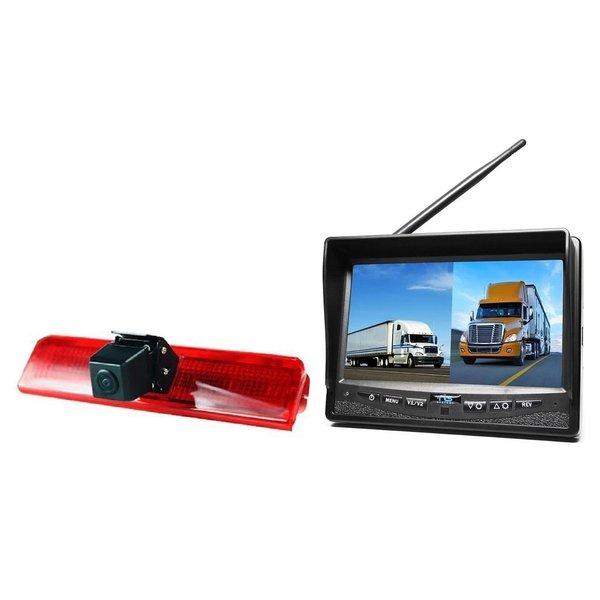 RVS-systemen VW Caddy  (2010-heden) Remlichtcamera Draadloze set Monitor 7 inch RVM-708
