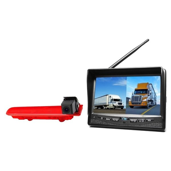 RVS-systemen VW Transporter T5 (2010-heden) Remlichtcamera  Draadloze set Monitor 7 inch RVM-708