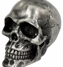 Cracked skull ornament, old silver