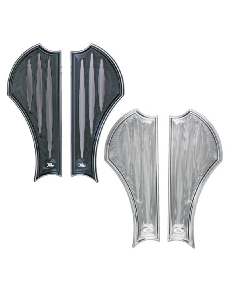 NEO-FUSION DRIVER FLOORBOARDS - Black anodized with clear cuts