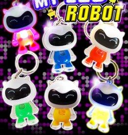 Robot Sleutelhanger met LED per 12 stuks
