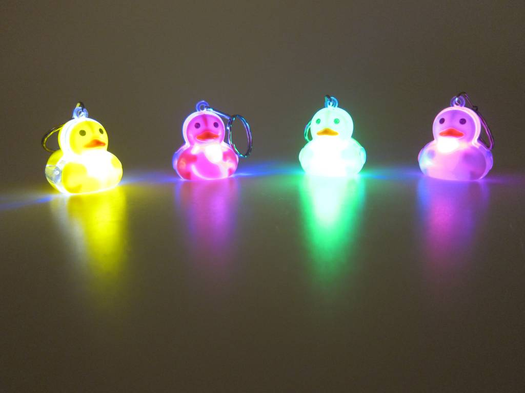 Porte clé de canard avec LED par 12 pcs