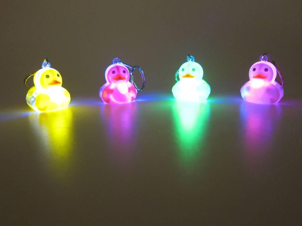 Sleutelhanger eend met LED per 12 stuks