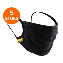 Mondmasker katoen wasbaar Zwart  5 pack
