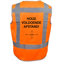 Veiligheidshesje houd afstand oranje