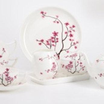 Teetasse - Kirschblüte rot - mit Unterteller