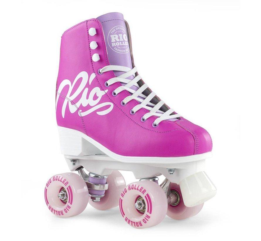 Script Quad Rollerskates Pink