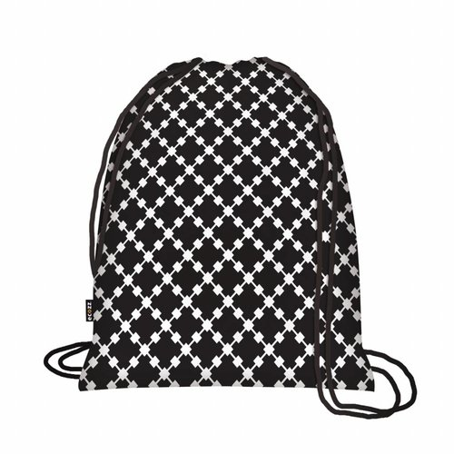 Ecozz Foldable Eco Backpack Squares Black